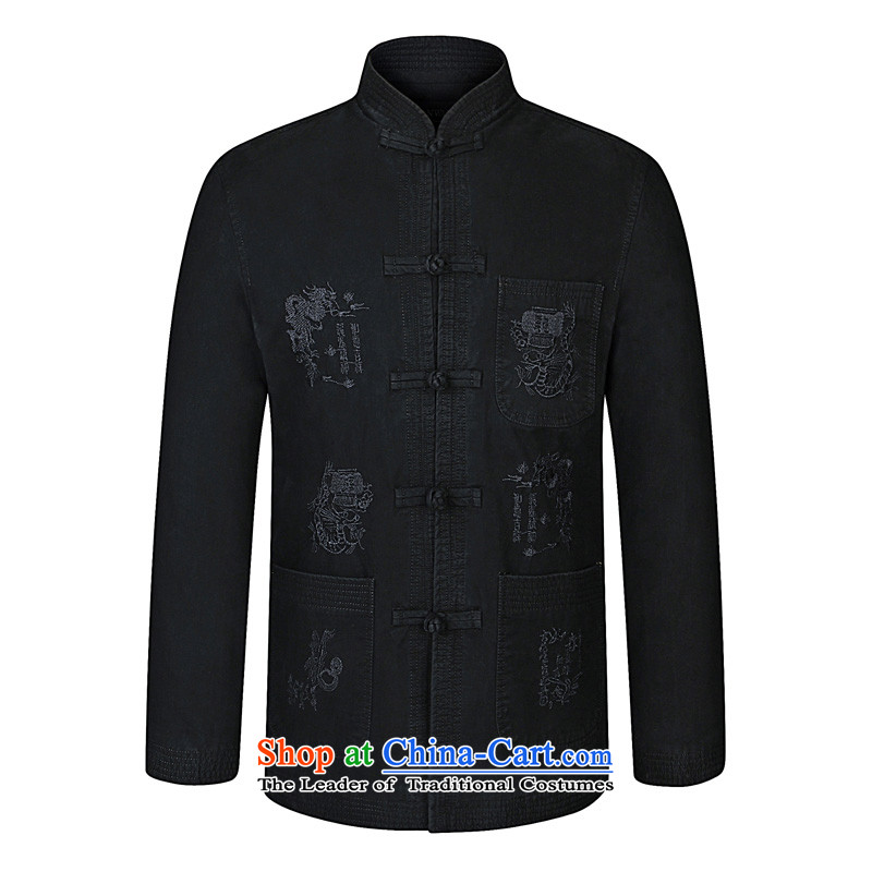 In 2015, the annual Kim Chun-New) older men for both business and leisure Tang dynasty embroidery collar larger jacket atmospheric father who decorated cotton shirt ironing from Black?175