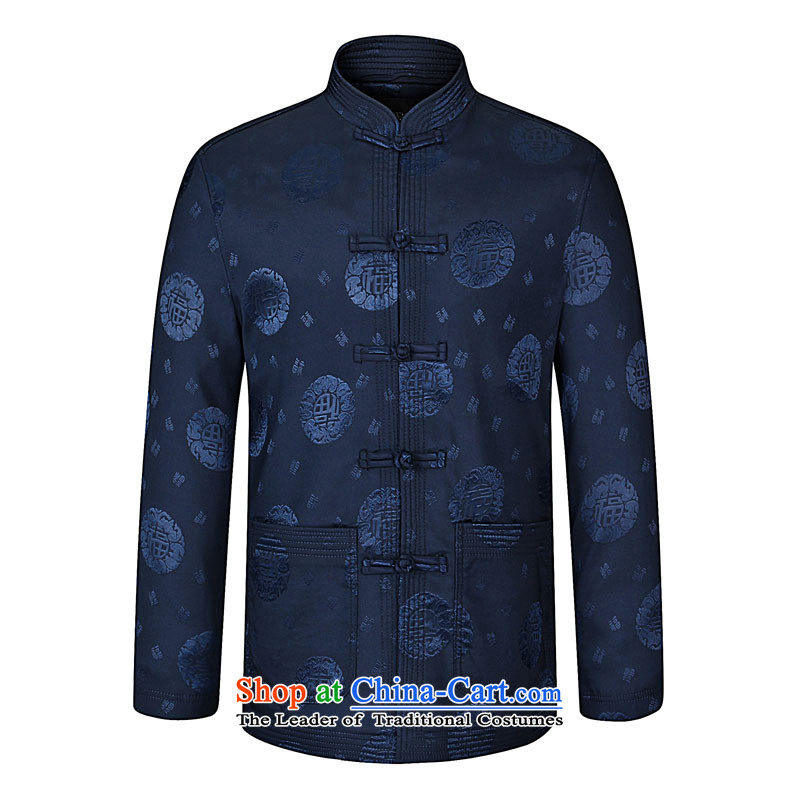 In 2015, the annual Kim Chun-load new China wind in older Men's Mock-Neck Tang dynasty fashion stamp Tang jackets decorated in Big Daddy atmospheric code T-shirt Navy Blue�0