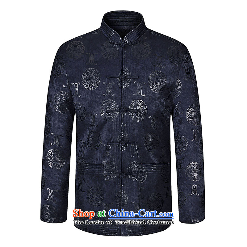 In 2015, the annual Kim in the Spring and Autumn Period and the older boys father replace collar stamp Tang dynasty business and leisure jacket atmospheric father decorated in cotton shirt XL Navy Blue 190