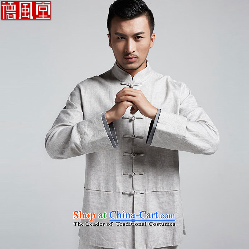 Fudo Shuai Kwan Tak stylish Chinese shirt wild stack forming the cuff shirt China wind kung fu shirt casual wear爈ong-sleeve gray and white spring and autumn 2015燤