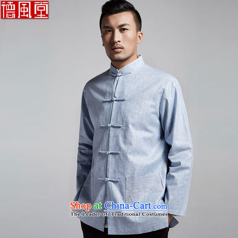 De Fudo integrity cotton linen men Tang Dynasty Chinese spring and autumn 2015 long-sleeved light jacket dad installed China wind men light blue聽XL