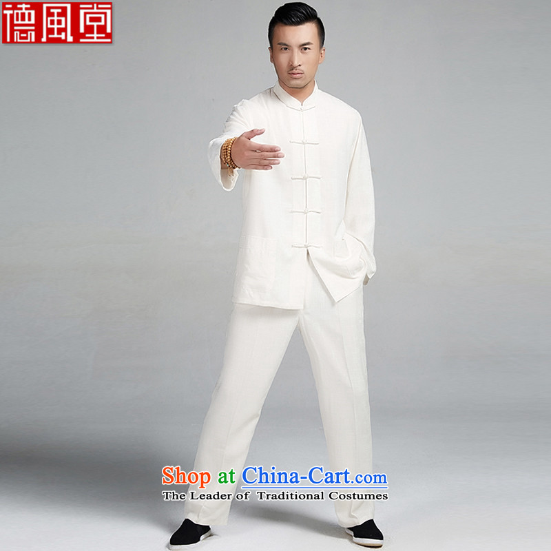 De Fudo Sangmu cotton linen embroidery kung fu kit tea with Taegeuk service men Tang Dynasty Package (T-shirt + pants) thin and light and comfortable Chinese clothing light yellow?M
