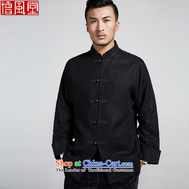 De-tong building cannot be refined improvement of older men's jackets personalized embroidery disc detained leisure long-sleeved shirt China wind men black聽52_3XL