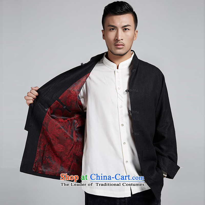 De-tong building cannot be refined improvement of older men's jackets personalized embroidery disc detained leisure long-sleeved shirt China wind men black聽52/3XL, de fudo shopping on the Internet has been pressed.