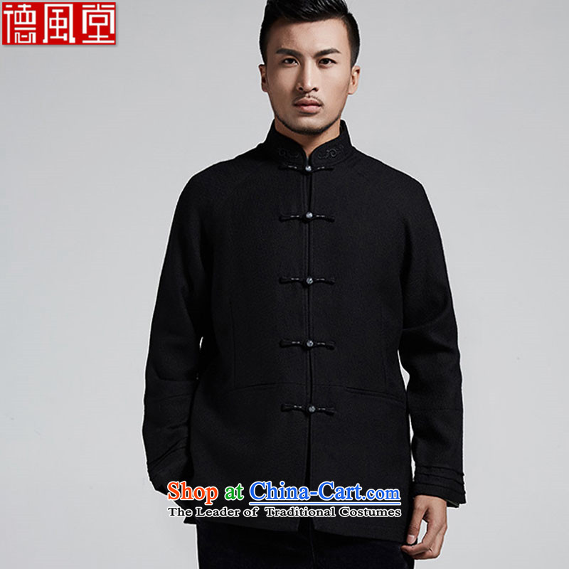 De Fudo Mahayana China wind improved stylish men Tang dynasty聽2015 autumn and winter of Chinese three-tier cuff leisure jacket black聽46_L
