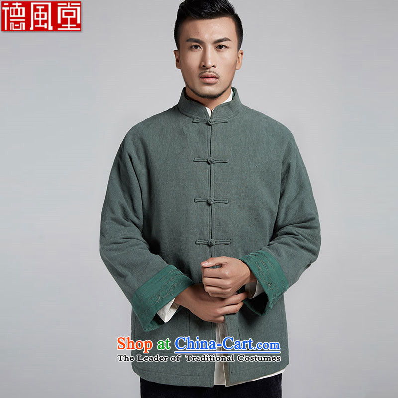 De-Tong Building Privacy Chinese improved color flip sleeve men in Tang Dynasty robe older leisure stay jacket China wind men 2015 autumn and winter聽52_XXXL green