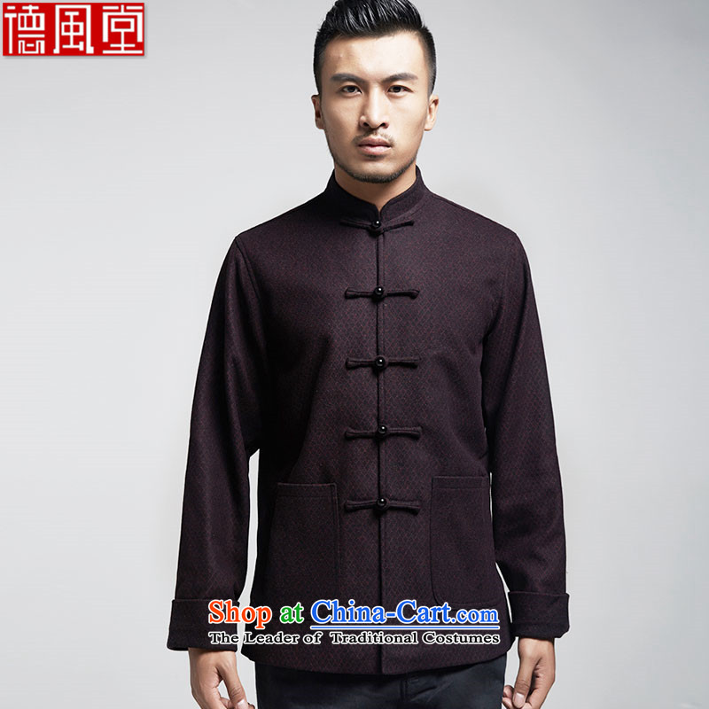 De Fudo proudly聽autumn 2015 replacing men Tang dynasty China wind men's jackets older leisure long-sleeved Tang dynasty warm dark red聽XXL
