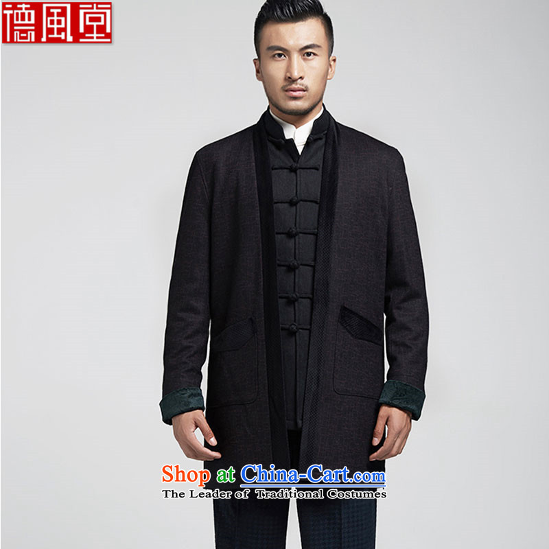 De Fudo South Pavilion Chinese gross men? Tang Dynasty Chinese Dress windbreaker minimalist atmosphere Sau San Chinese wind spring and autumn of 2015 men's black聽L