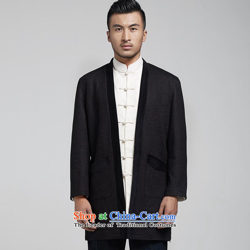 De Fudo South Pavilion Chinese gross men? Tang Dynasty Chinese Dress windbreaker minimalist atmosphere Sau San Chinese wind spring and autumn of 2015 men's black聽, L'Fudo shopping on the Internet has been pressed.