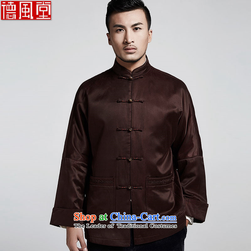 Fudo Dai de older upscale male Tang dynasty 2015 autumn and winter coats of Chinese Two-sleeved leisure robe China wind men's coffee-colored聽46_L