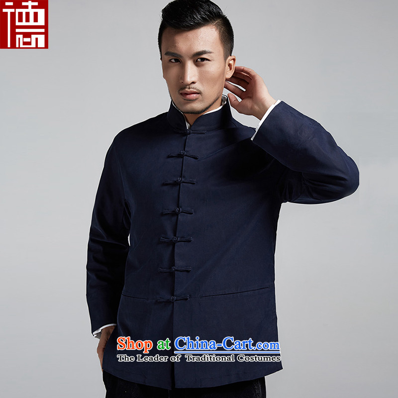 Fudo the Kwan Tak stylish Chinese men Tang dynasty 2015 autumn and winter double cuff Long-sleeve handsome casual jacket China wind men聽46_L Dark Blue