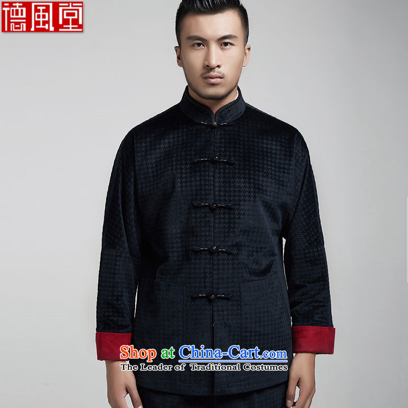 De Fudo odake pure Chinese even shoulder Chinese clothing male middle-aged long-sleeved Tang dynasty 2015 Autumn jackets and elegant China wind men聽48_XL Dark Blue