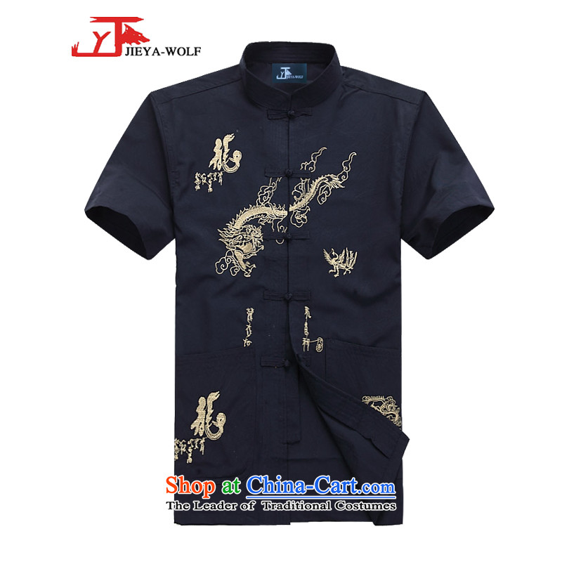 - Wolf JEYA-WOLF, New Package Tang dynasty men's short-sleeved light summer_ Kit Man Tang casual kit retro embroidered dragon, dark blue A聽XL_180