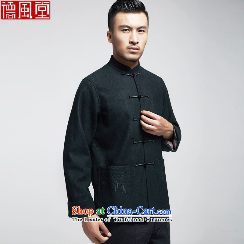Fudo de intellectuals gross? 2015 autumn and winter, men's jackets for older Tang father replacing Chinese men fall and winter China wind emerald聽XXL