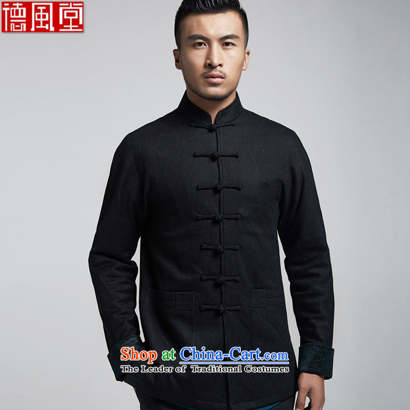 Fudo look forward Kwan Tak Sau San? Boxed autumn gross men Tang jackets China wind long sleeved shirt over load shoulder autumn and winter, black燣