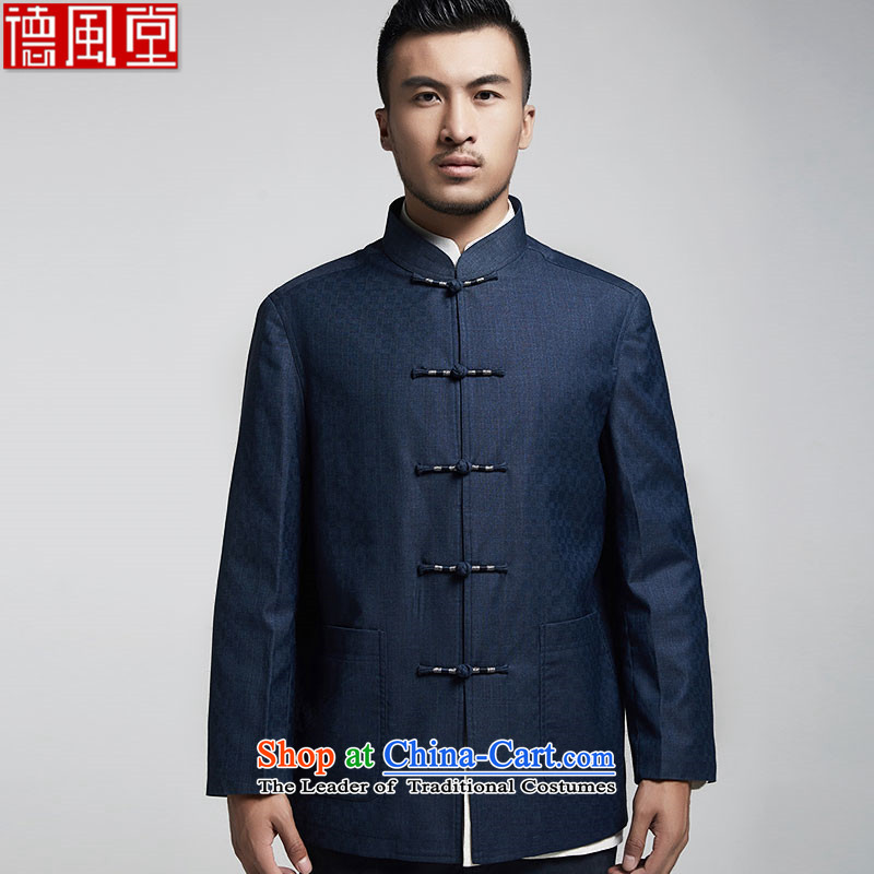 Fudo uprightness autumn, replacing long-sleeved jacket in Tang Dynasty men and elderly Chinese clothing winding shirt clip atmospheric China wind men blue聽4XL