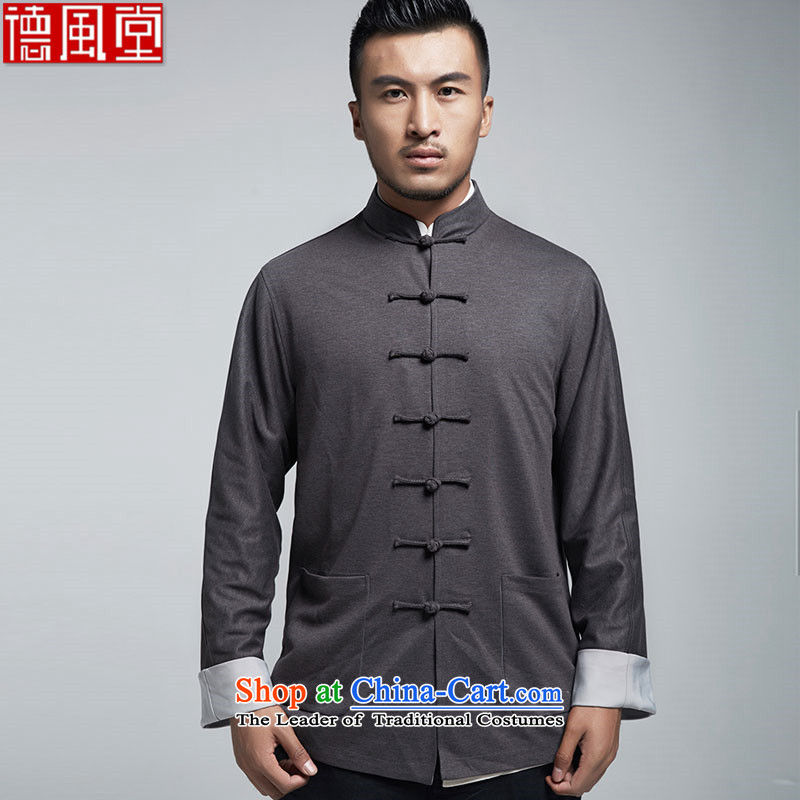 De Fudo Exclusive stylish Sau San Tong replacing men in?spring and autumn 2015 China Wind Jacket long-sleeved top Light Gray?L