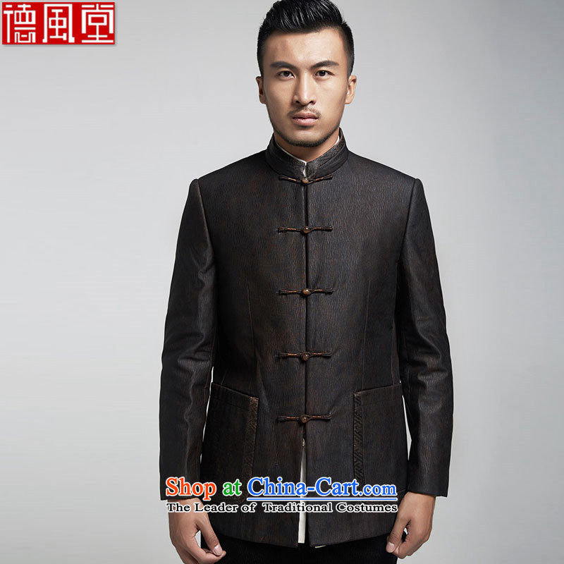 De Fudo Ienti cloud of incense yarn thin robe men Tang jackets Sau San Business Professional upscale China wind of men by 2015 autumn and winter, Black聽46_70