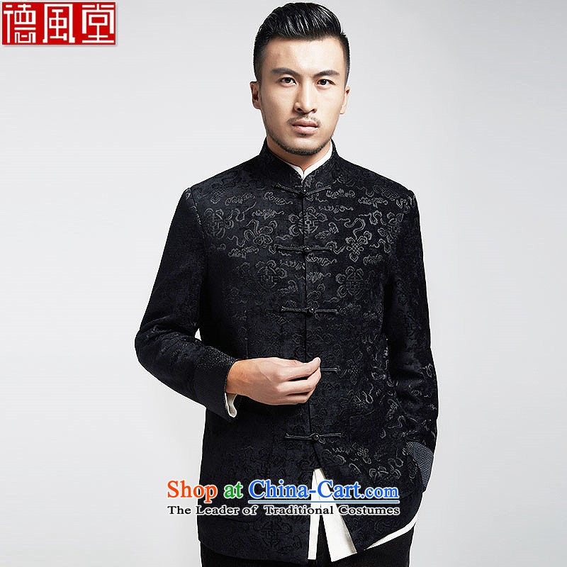 De Fudo Fragrance Tang dynasty fashion male is jackets of ethnic Chinese tunic Gross material? men fall and winter, black?4XL