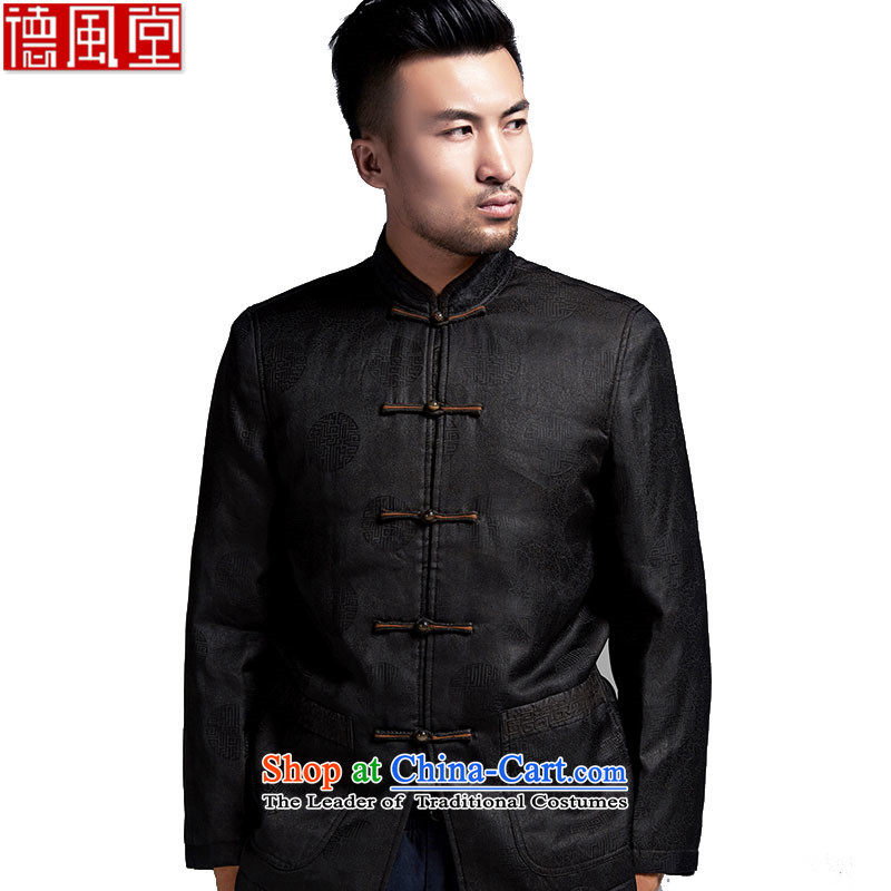 De Fudo days incense cloud of men in Tang Dynasty older Chinese Men's Mock-Neck robe 2015 autumn and winter China wind black聽M