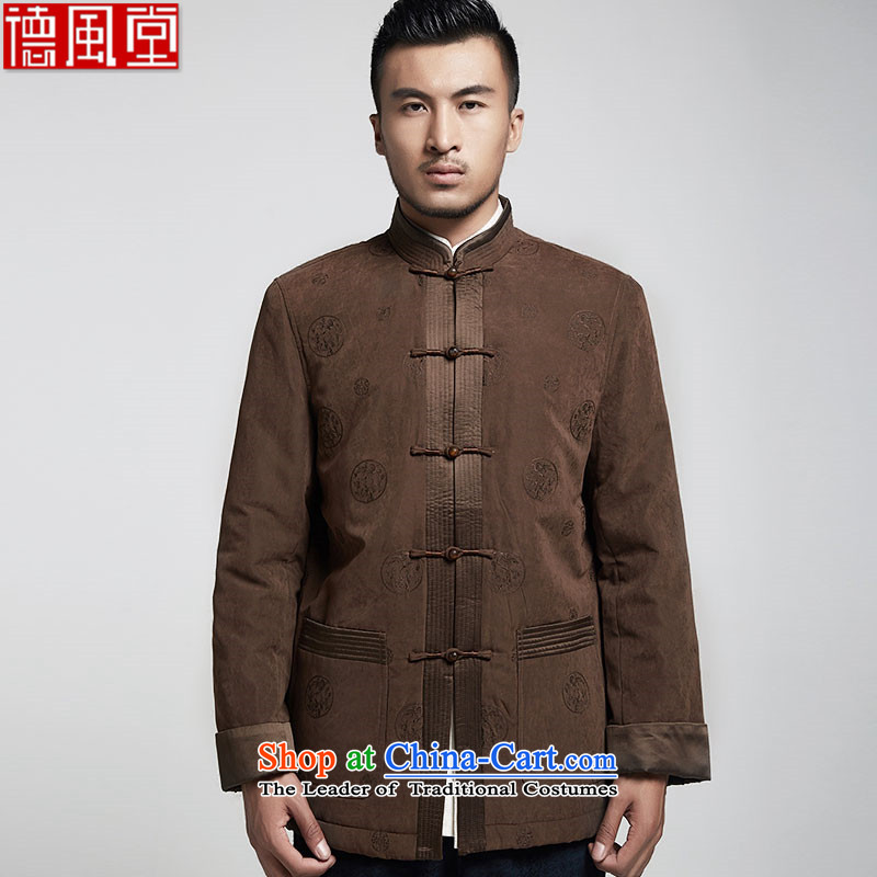 De Fudo too and upscale male Tang Gown robe 2015 autumn and winter long-sleeved sweater silk embroidery stitching suits China wind men's coffee-colored�_3XL