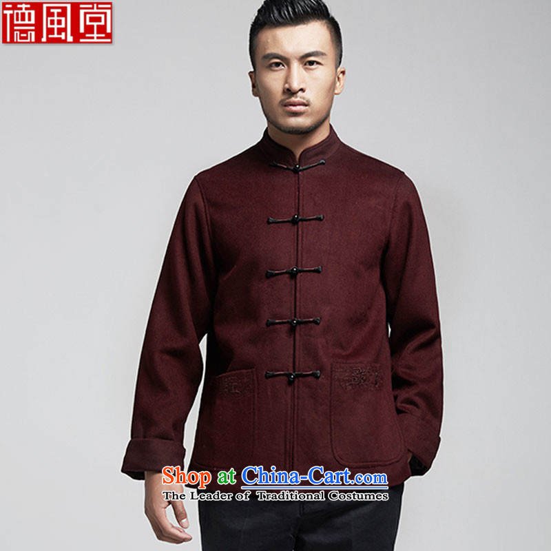 De Fudo Kiyomasa older men Tang dynasty long-sleeved jacket for autumn and winter 2015 Chinese father replacing three-dimensional construction warm China wind men wine red�L