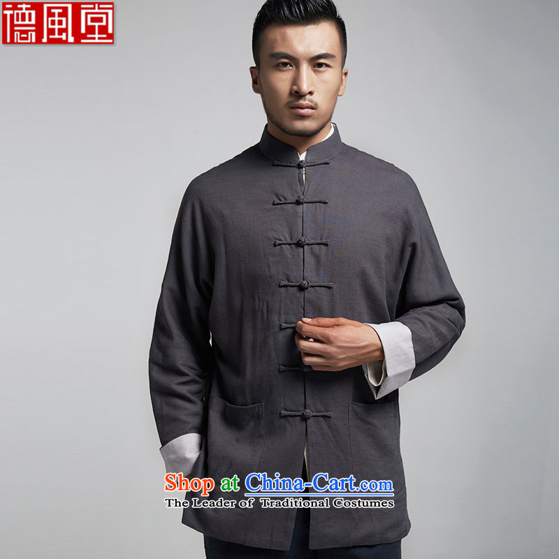 Tak Park Fudo linen traditional style even rotator cuff men Tang jackets Chinese leisure shirt China wind men in spring and autumn 2015聽XXXL Dark Gray