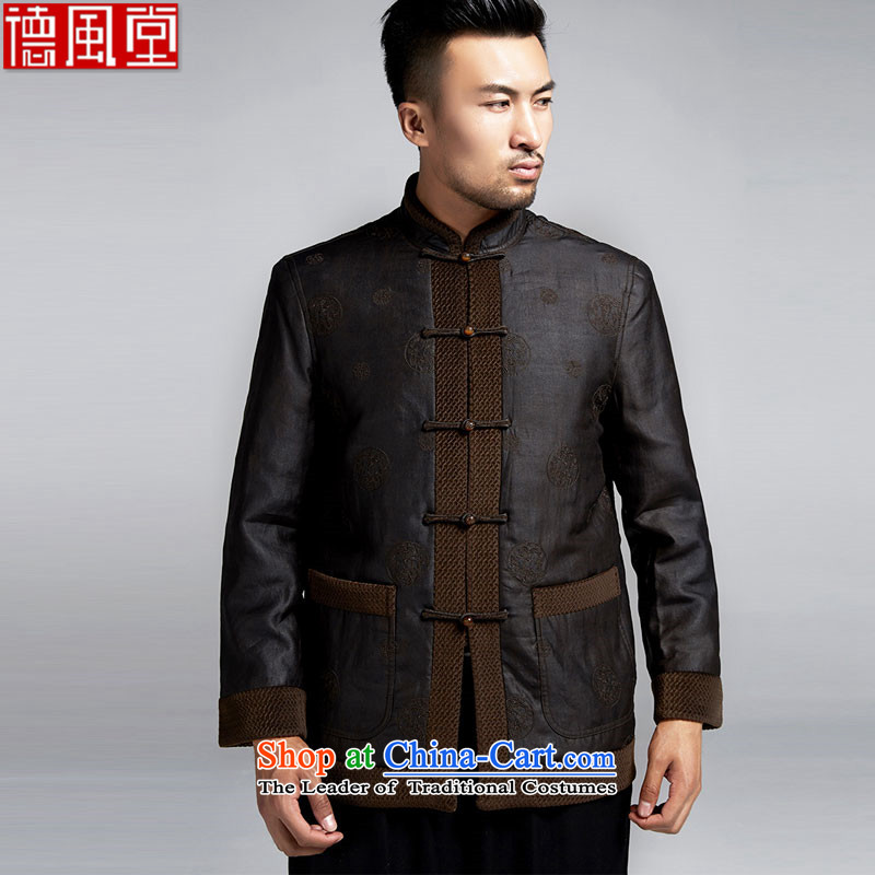 Fudo de Man Days drunken upscale Tang dynasty long-sleeved jacket for autumn and winter 2015 China wind older silk robe thick jacket, black聽46_L