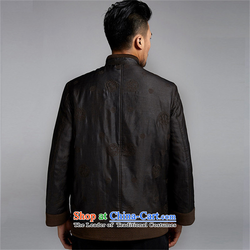 Fudo de Man Days drunken upscale Tang dynasty long-sleeved jacket for autumn and winter 2015 China wind older silk robe thick black jacket,46/L, de fudo shopping on the Internet has been pressed.