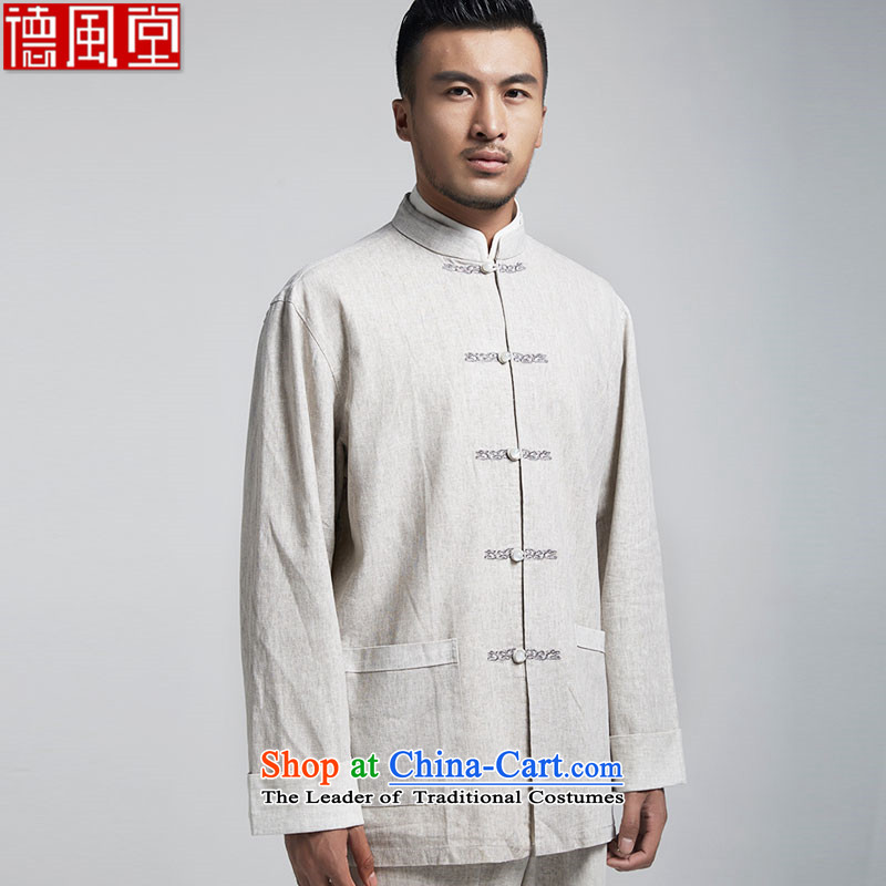 Fudo de Tang dynasty linen plain rowdy men long-sleeved top Chinese leisure jacket embroidered original China wind spring and autumn 2015 men聽XXXL Light Gray