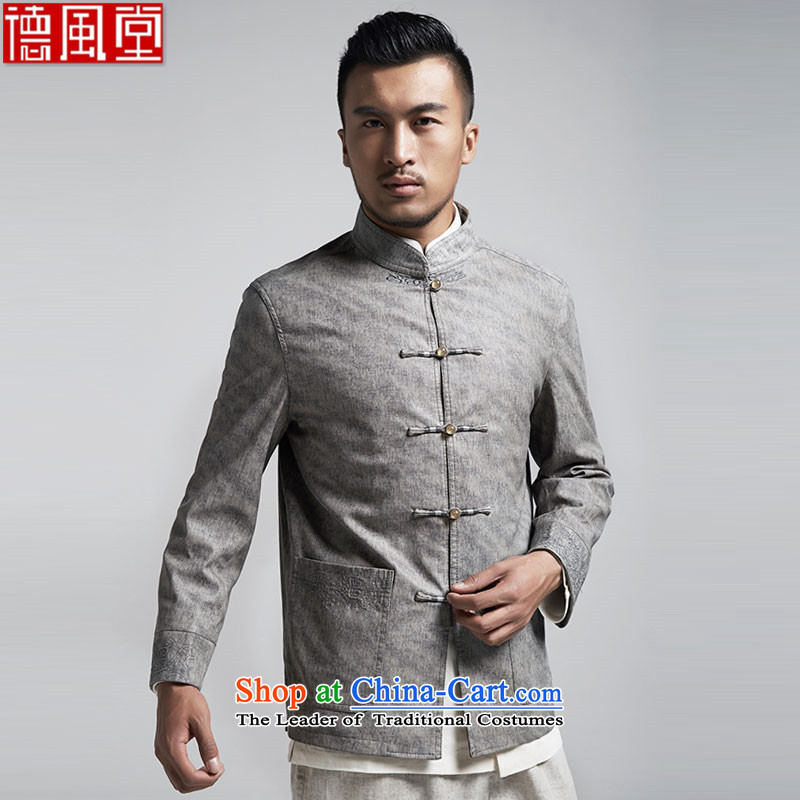 De Fudo Ljubljana China wind Men's Jackets Tang Gown robe 2015 autumn and winter long-sleeved gray聽XXXL load father of the middle-aged