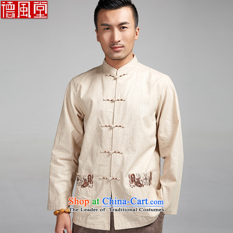 De Fudo Houze cotton linen Men's Shirt Tang Dynasty Chinese spring and autumn, forming the Netherlands winding embroidery China wind of men from the spring and autumn beige聽XXXL 2015