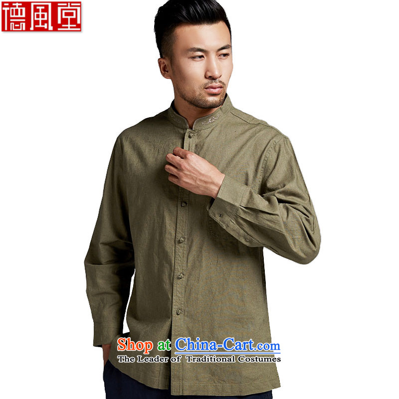 De Fudo p. Xuan cotton linen long-sleeved shirt collar Chinese men in Tang Dynasty older men boutique China wind army green聽XXL