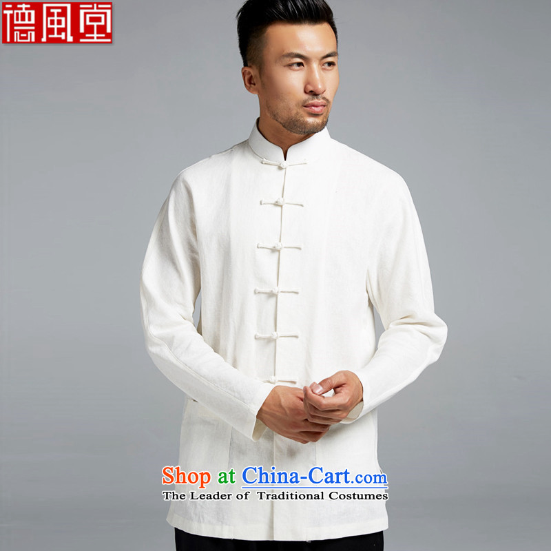 Fudo Dong Jun De cotton linen men Tang dynasty improved traditional shirt shoulder even China wind youth Stylish spring and autumn 2015 Sau San rice white 2XL