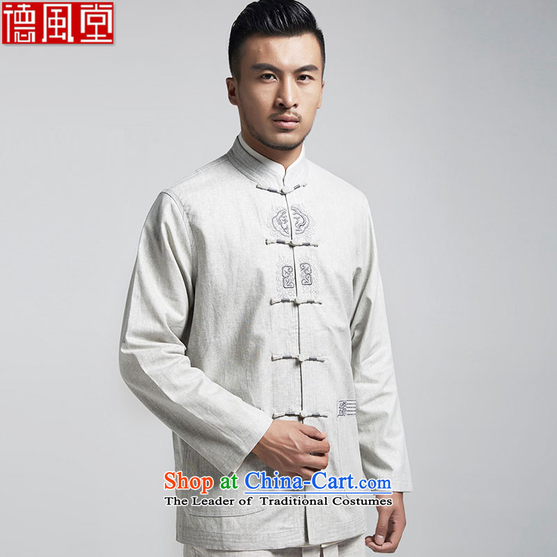 De-cousin, linen men Tang jackets in Tang Dynasty Older long-sleeved China wind?spring and autumn 2015 men's light gray?XL