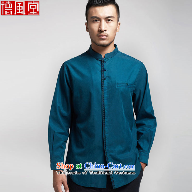 Fudo Kwan Tak World�15 Import Tencel Tang dynasty and long-sleeved shirt, forming the basis for autumn and winter Youth Chinese shirt China wind men Chinese clothing Blue�