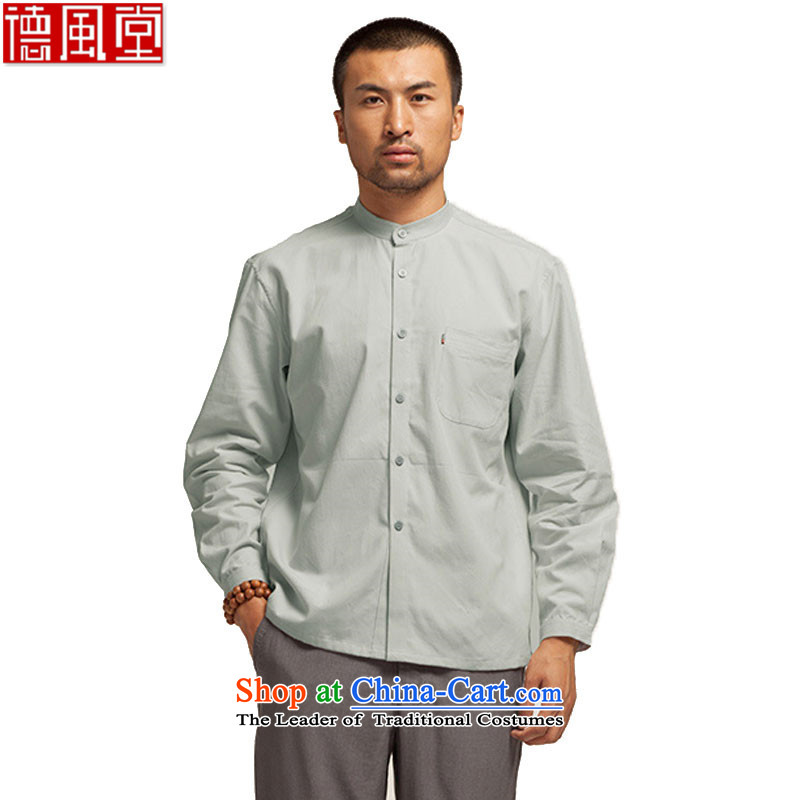 Fudo also adopted de pure cotton blacklead men's shirts, Tang Dynasty Chinese spring and autumn 2015, forming the Netherlands China wind Sau San collar light gray燲XL