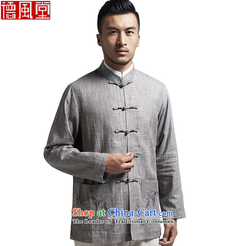 Fudo cheng bamboo linen, the elderly in the Tang dynasty China wind up male shirt clip embroidery?2015 autumn and winter coats of light gray?XXXL Leisure