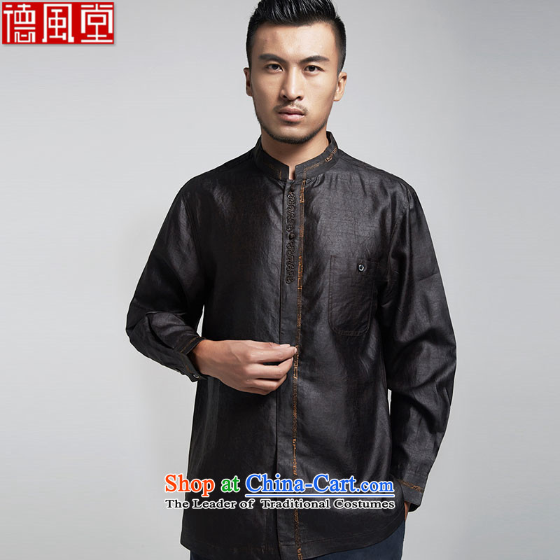 Fudo Nga Road, silk Tang dynasty men's shirts, cloud of incense long sleeves stereo embroidery China wind men in spring and autumn 2015 Black聽46_L