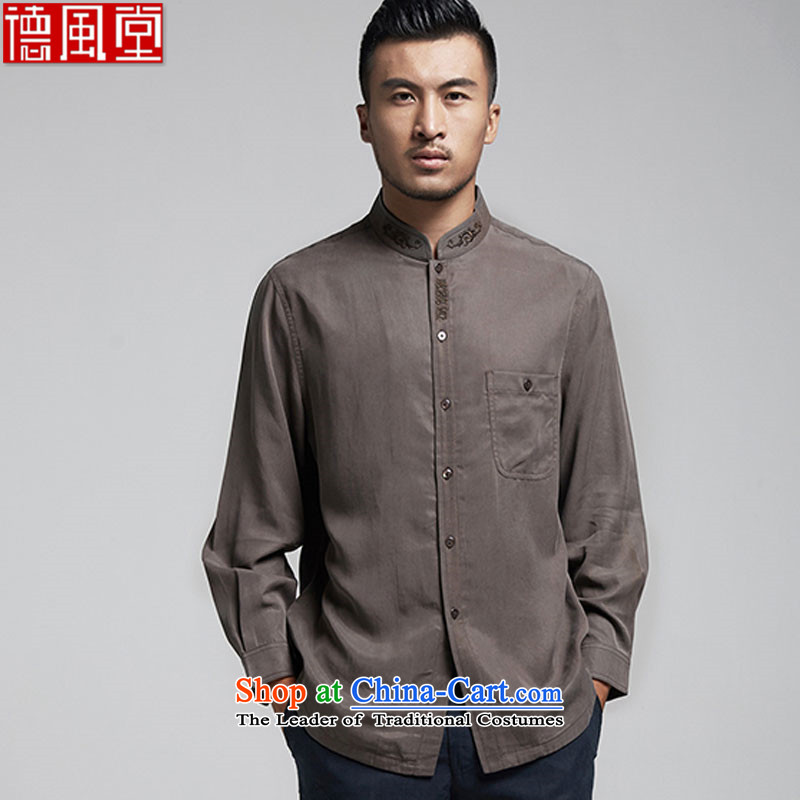Fudo Ho-woo, TENCEL stylish long-sleeved shirt is cardigan improved embroidery men Tang Blouses China wind load spring and autumn 2015 men聽48_XL Brown