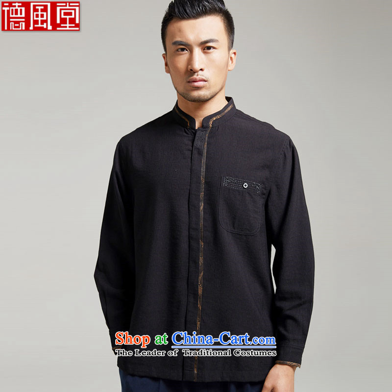 De Fudo Ligao Qi Junyan ink in older men Tang dynasty long-sleeved cotton linen Tang Dynasty Chinese New Year 2015 improved Han-China wind black燲XL