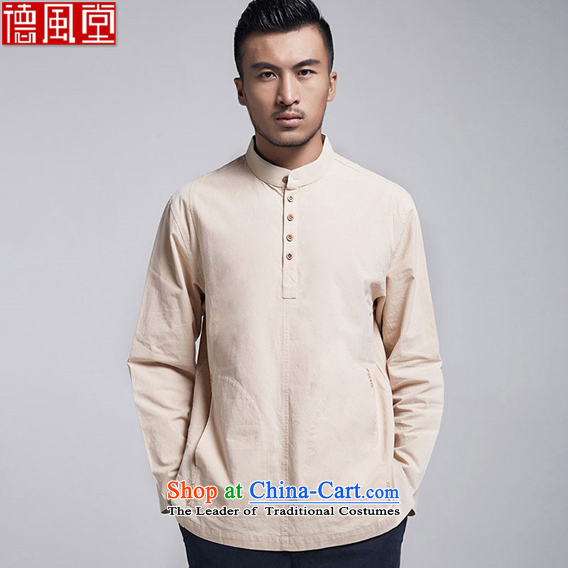 The Wind tangqiu envelope of the聽2015 cotton muslin long-sleeved shirt men Tang Dynasty Chinese collar pullovers with side pockets China wind聽44_M yellow