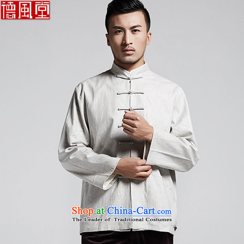 Fudo so diligently de ma Tang dynasty men wear long-sleeve shirts in spring and autumn shirt China wind men Light Gray燣
