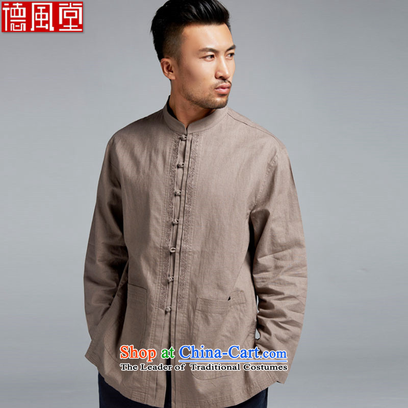 Fudo Kim cold de�2015 cotton linen breathable long-sleeved shirt collar Chinese Tang blouses in older men China wind brown�XXL