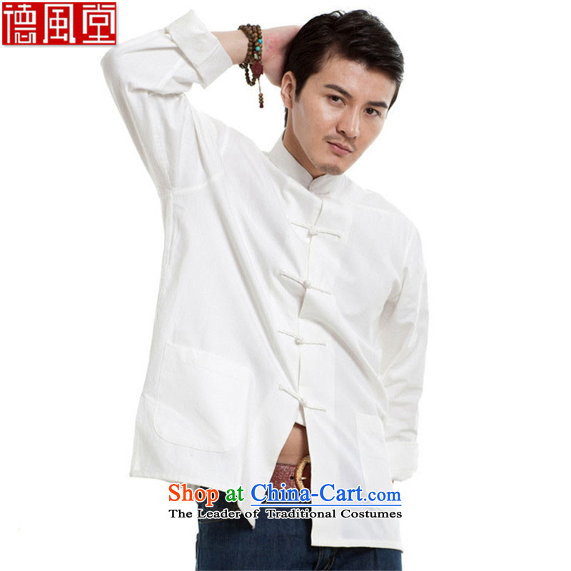 De Fudo Masakazu?2015 Cotton muslin men forming the Tang Dynasty Chinese long-sleeved shirt shirt China wind men?XXXL White