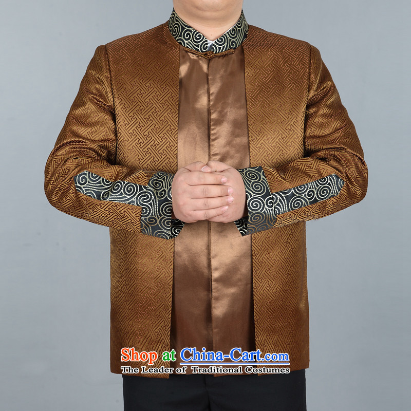 Rollet HIV from older Tang Dynasty Chinese robe men men long-sleeved shirt and Tang dynasty 棉衣燲XXL Gold