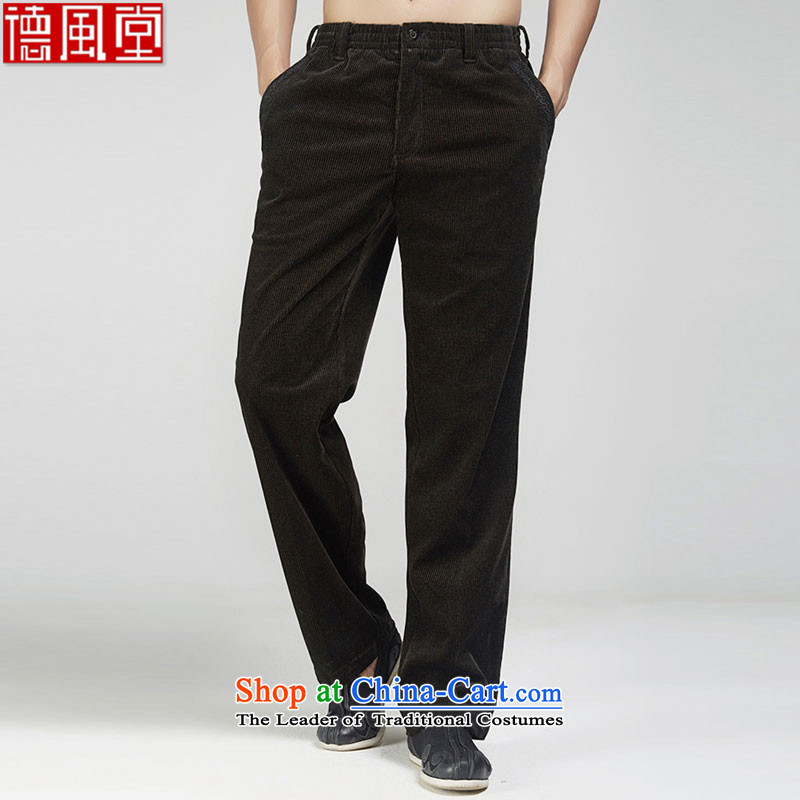 Fudo skylight de聽2015 autumn and winter Chinese pants men Tang dynasty improved business trousers three-dimensional construction embroidery fine china wind men's coffee-colored聽46_L