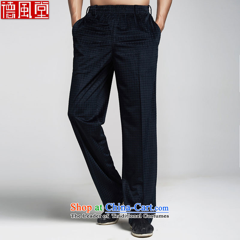 Fudo de聽2015 good deeds velvet men Tang dynasty autumn and winter casual pants embroidery elastic waist Chinese China wind men聽44_M Dark Blue