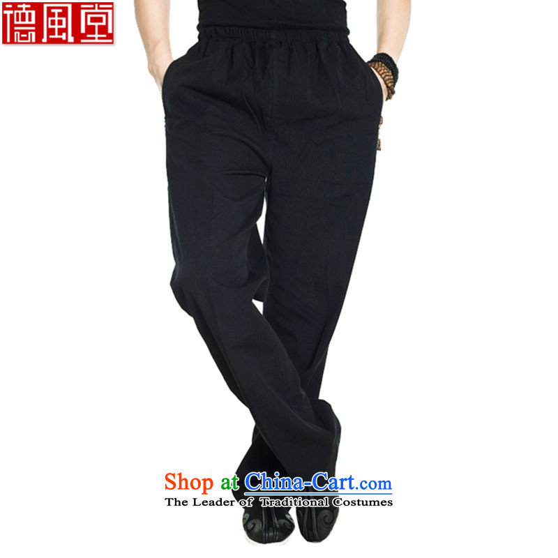 Fudo return to innocence de聽2015 Cotton muslin spring and autumn Tang dynasty elastic casual pants Chinese trousers dual side pockets pristine China wind men聽XXXL black