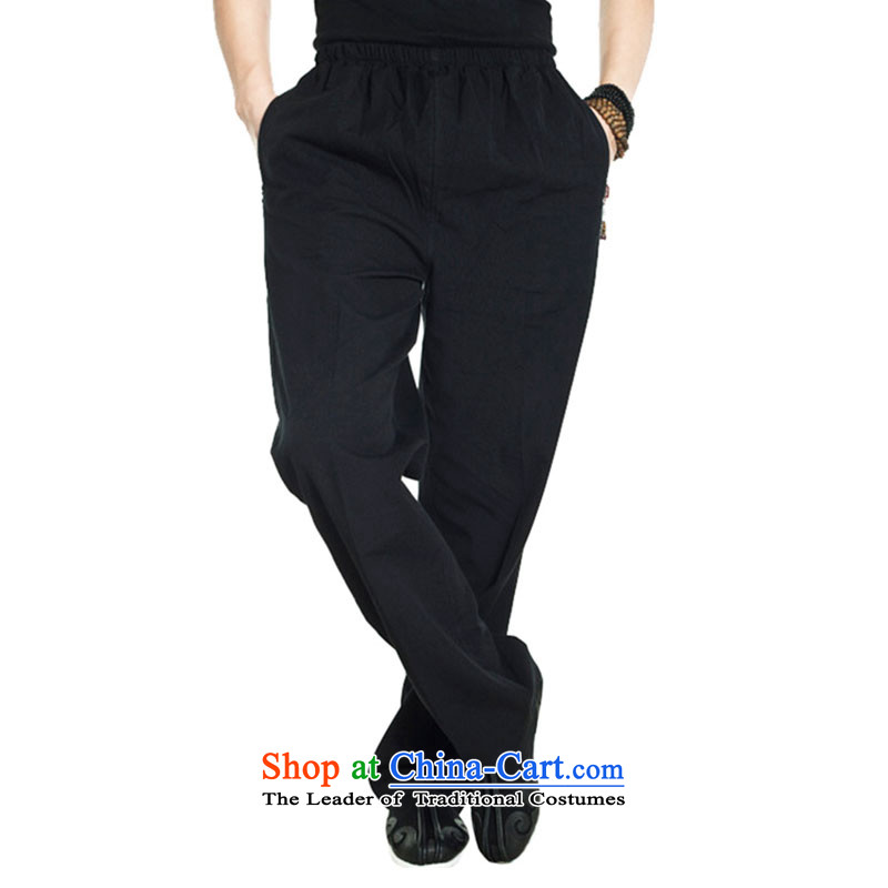 Fudo return to innocence de聽2015 Cotton muslin spring and autumn Tang dynasty elastic casual pants Chinese trousers dual side pockets pristine China wind men black聽XXXL, de fudo shopping on the Internet has been pressed.